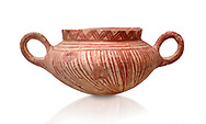 Very early Minoan rounded 2 handled pot with white and red linear motifs,  vaulted tombs Lebena 3000-2100 BC BC, Heraklion Archaeological  Museum, white background.<br /> <br /> Made of grey clay these pots are the earliest found in the Lebena vaulted tombs .<br /> <br /> If you prefer to buy from our ALAMY PHOTO LIBRARY  Collection visit : https://www.alamy.com/portfolio/paul-williams-funkystock/minoan-art-artefacts.html . Type -   Heraklion   - into the LOWER SEARCH WITHIN GALLERY box. Refine search by adding background colour, place, museum etc<br /> <br /> Visit our MINOAN ART PHOTO COLLECTIONS for more photos to download  as wall art prints https://funkystock.photoshelter.com/gallery-collection/Ancient-Minoans-Art-Artefacts-Antiquities-Historic-Places-Pictures-Images-of/C0000ricT2SU_M9w