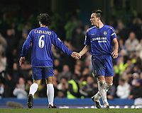 Photo: Lee Earle.<br /> Chelsea v Wigan Athletic. The Barclays Premiership.<br /> 10/12/2005. Chelsea's Ricardo Carvalho (L) congratulates John Terry on his opening goal.
