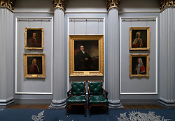 Paintings decorating interior of  the Signet Library on Parliament Square , Edinburgh Old Town, Scotland, UK. Middle painting by Sir Henry Raeburn of Hon. David Hume.