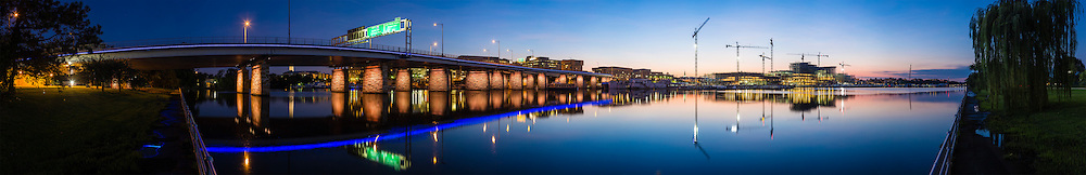 Case Bridge(14th Street Bridge) with lighting and the Warf in SouthWest Washington DC