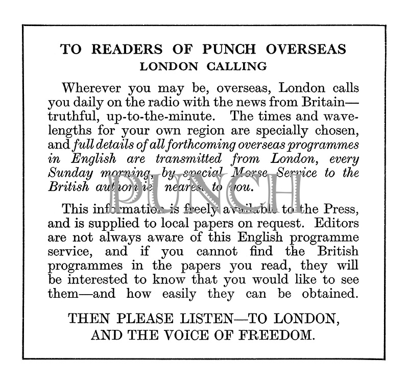 To Reader of Punch Overseas. London Calling. Wherever you may be....