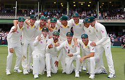 Australia celebrate winning the ashes during day five of the Ashes Test match at Sydney Cricket Ground.