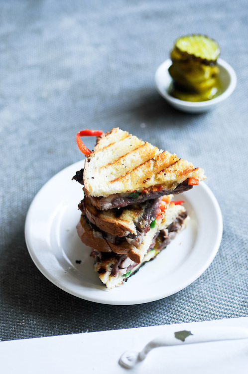 Roast Beef Panini with Stack of Pickles