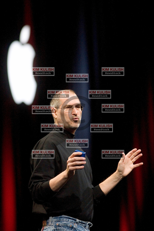 Apple CEO Steve Jobs gives the keynote speech at the 2005 Macworld Expo January 11, 2005 in San Francisco, California. Jobs announced several new products including the new Mac Mini personal computer starting at $499 and the iPod shuffle MP3 player for $99  Photo ©2005  by Kim Kulish