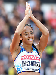 Great Britain's Katarina Johnson-Thompson reacts after a throw in the Javelin element of the Women's Heptathlon during day three of the 2017 IAAF World Championships at the London Stadium.