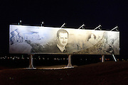 Roadside poster of Bashar al-Assad, president of Syria, 2011 depicted with the ruins of Palmyria. Palmyra, Syria. Ancient city in the desert that fell into disuse after the 16th century.