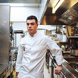 Chef Xavier Caussade posing in the kitchen at Maison de la Truffe. Paris, France. Nov. 29, 2018. <br /> Le Chef Xavier Caussade prends la pose dans les cuisines de la Maison de la Truffe. Paris, France. 29 novembre 2018.