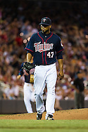 Minnesota Twins starter Francisco Liriano pitched 8 innings and struck out a career-high 15 batters against the Oakland Athletics on July 13, 2012 at Target Field in Minneapolis, Minnesota.  The Athletics defeated the Twins 6 to 3.  © 2012 Ben Krause