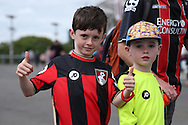 Young Bournemouth fans outside London Stadium before k/o. Premier league match, West Ham Utd v AFC Bournemouth at the London Stadium, Queen Elizabeth Olympic Park in London on Sunday 21st August 2016.<br /> pic by John Patrick Fletcher, Andrew Orchard sports photography.