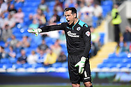 Millwall goalkeeper David Forde looks on.Skybet football league championship, Cardiff city v Millwall at the Cardiff city stadium in Cardiff, South Wales on Saturday 18th April 2015<br /> pic by Andrew Orchard, Andrew Orchard sports photography.