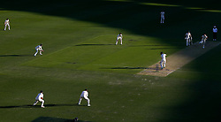 England's James Anderson bowls to Shaun Marsh during day two of the Ashes Test match at The Gabba, Brisbane.