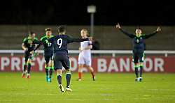 BANGOR, WALES - Saturday, November 12, 2016: Wales' captain Tyler Roberts celebrates his side's 3-2 victory over England during the UEFA European Under-19 Championship Qualifying Round Group 6 match at the Nantporth Stadium. (Pic by Gavin Trafford/Propaganda)