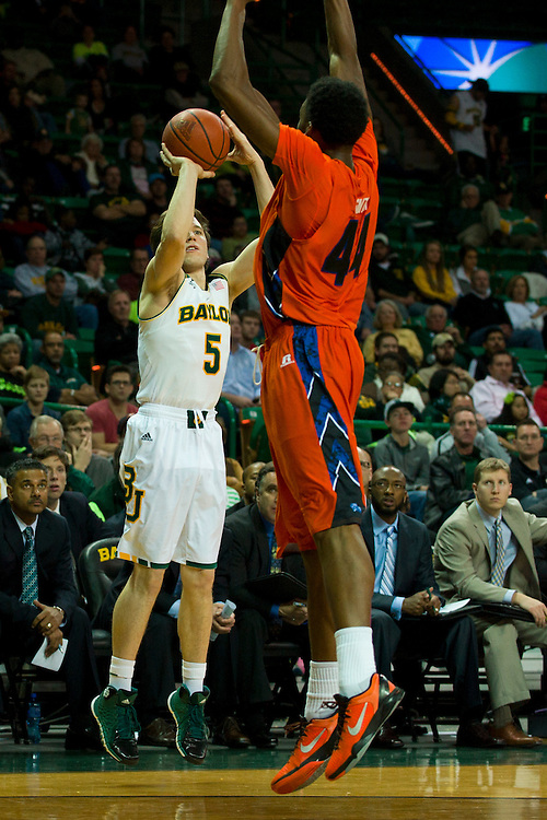 WACO, TX - JANUARY 3: Brady Heslip #5 of the Baylor Bears shoots a three-pointer against the Savannah State Tigers on January 3, 2014 at the Ferrell Center in Waco, Texas.  (Photo by Cooper Neill) *** Local Caption *** Brady Heslip