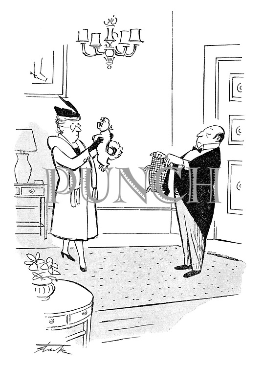 (A butler holds a little dog's coats as its rich mistress prepares to leave)