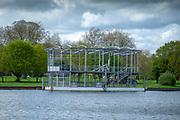 Henley on Thames. United Kingdom.   2018 Henley Royal Regatta, Henley Reach. <br />   <br /> Course Construction: Floating Grandsand. Moored.<br /> <br /> Wednesday  25/04/2018<br /> <br /> [Mandatory Credit: Peter SPURRIER:Intersport Images]<br /> <br /> Leica Camera AG  LEICA M (Typ 262)  f2.4  1/3000sec  mm  27.6MB