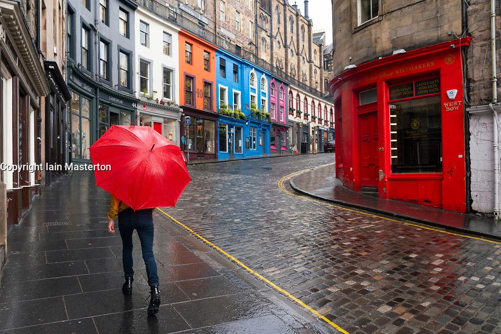 View of empty Victoria Street in Edinburgh during Covid-19 lockdown, Scotland UK