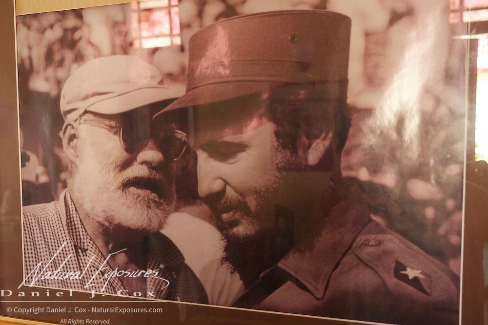 Ernest Hemingway and Fidel Castor in an old photograph. Havana, Cuba.