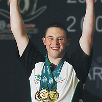 9 October 2007; William Loughnane, from Clooney-Quin, Co. Clare, celebrates on the podium. William who was competing in six disciplines, vault, pommel horse, rings, parallel bars, floor and high bar, and won a total of seven medals, six gold and one bronze in vault. 2007 Special Olympics World Summer Games, Shanghai International Gymnastics Centre, Shanghai, China. Picture credit: Ray McManus / SPORTSFILE