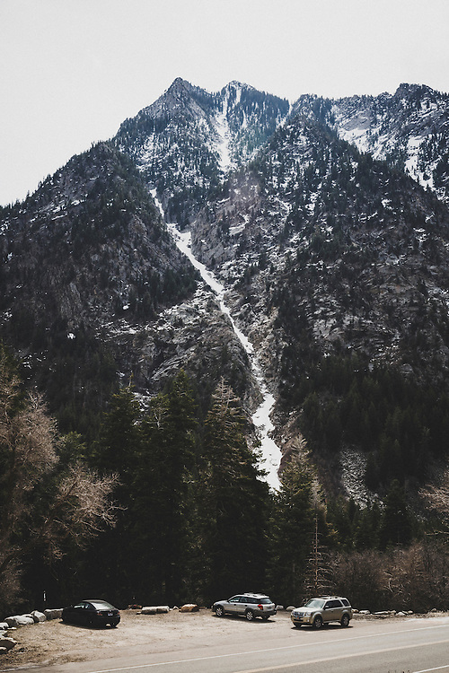 The 3,200 foot ski line, Y-Couloir in spring conditions, Wasatch Mountains, Utah.