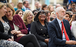 © Licensed to London News Pictures. 24/04/2018. London, UK. Labour MP for Batley and Spen, Tracy Brabin shares a joke with Shadow Secretary DIANE ABBOTT at the unveiling of a statue of Millicent Fawcett in Parliament Square, London. Dame Millicent, a leading Suffragist and campaigner for equal rights for women, is the first woman to be commemorated with a statue in Parliament Square. Photo credit: Ben Cawthra/LNP