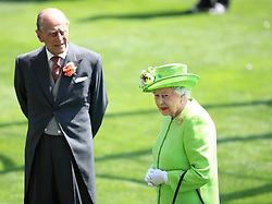 The Duke of Edinburgh and Her Majesty The Queen during day one of Royal Ascot at Ascot Racecourse.