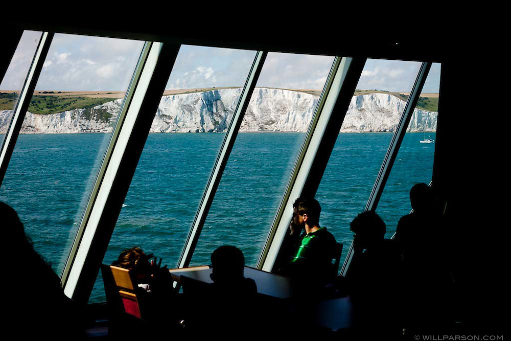 A ferry travels from Dunkirk, France to Dover, England.