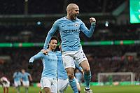 Football - 2018 Carabao (EFL/League) Cup Final - Manchester City vs. Arsenal<br /> <br /> David Silva (Manchester City) celebrates scoring at Wembley.<br /> <br /> COLORSPORT/DANIEL BEARHAM