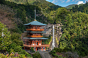"""Seiganto-ji (Temple of the Blue Waves) is a Tendai Buddhist temple within the Kumano Sanzan shrine complex, in Nachikatsuura, on the Kii Peninsula, on the island of Honshu, Japan. Don't miss the iconic view of thundering Nachi-no-Taki waterfall (133 m, Japan's tallest) paired with Seiganto-ji pagoda. According to a legend, it was founded (near a previous nature worship site) by the priest Ragyo Shonin, a monk from India. Seiganto-ji is part of the Kumano Sanzan shrine complex and is one of the few jingu-ji still in existence after the separation of Shinto and Buddhism forced by the Japanese government during the Meiji restoration. Seiganto-ji is is stop #1 on Kansai Kannon Pilgrimage, and is part of a UNESCO World Heritage Site listed as the """"Sacred Sites and Pilgrimage Routes in the Kii Mountain Range"""". Access: by bus from Nachi Station (20 min) or Kii-Katsuura Station (30 min). Ask driver to stop at base of the Daimonzaka trail (""""Daimonzaka"""" stop); or at the entrance to Nachi Waterfall (""""Taki-mae""""); or at the bus terminus 10 minutes climb below Nachi Shrine (""""Nachi-san""""). Cars can park at Seigantoji Temple. I recommend this scenic, short walk (3.5 km with 265 meters gain): starting from Daimon-zaka bus stop, ascend a stone-paved path, humbled by massive evergreens, up to the gates of Nachi Taisha shrine, descend to Seiganto-ji pagoda, then to the falls, just below Taki-mae bus stop."""