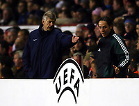 Arsene Wenger Manager complains to the 4th Official<br />Arsenal V Bayern Munich 09/03/05<br />The UEFA Champions League<br />Photo Robin Parker Fotosports International