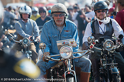 Frank Westfall of New York riding his 1912 Henderson leaves the start of the Motorcycle Cannonball Race of the Century. Stage-1 from Atlantic City, NJ to York, PA. USA. Saturday September 10, 2016. Photography ©2016 Michael Lichter.
