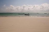 Traditional wooden dhows in the sea near Paje, Zanzibar, Tanzania
