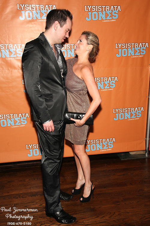 """NEW YORK, NY - DECEMBER 14:  (L-R) Dan Knechtges and Jessica Hartman attend the """"Lysistrata Jones"""" Broadway opening night after party at the New Liberty Theatre on December 14, 2011 in New York City.  (Photo by Paul Zimmerman/WireImage)"""