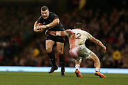 Scott Williams of Wales (l) is tackled by Merab Sharikadze of Georgia ®. Under Armour 2017 series Autumn international rugby, Wales v Georgia at the Principality Stadium in Cardiff , South Wales on Saturday 18th November 2017. pic by Andrew Orchard, Andrew Orchard sports photography
