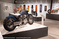 Union Speed and Style's Jordan Dickinson's SourKraut custom 1947 Harley-Davidson EL Knucklehead in the What's the Skinny Exhibition (2019 iteration of the Motorcycles as Art annual series) at the Sturgis Buffalo Chip during the Sturgis Black Hills Motorcycle Rally. SD, USA. Friday, August 9, 2019. Photography ©2019 Michael Lichter.
