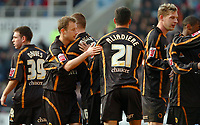 Photo: Ed Godden.<br />Reading v Wolverhampton Wanderers. Coca Cola Championship. 18/03/2006. <br />Tomasz Frankowski (2nd, L) celebrates with his Wolves team mates after the goal.