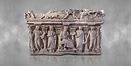 """Side panel of a Roman relief sculpted sarcophagus with kline couch lid, """"Columned Sarcophagi of Asia Minor"""" style typical of Sidamara, 3rd Century AD, Konya Archaeological Museum, Turkey. .<br /> <br /> If you prefer to buy from our ALAMY STOCK LIBRARY page at https://www.alamy.com/portfolio/paul-williams-funkystock/greco-roman-sculptures.html . Type -    Konya     - into LOWER SEARCH WITHIN GALLERY box - Refine search by adding a subject, place, background colour, museum etc.<br /> <br /> Visit our ROMAN WORLD PHOTO COLLECTIONS for more photos to download or buy as wall art prints https://funkystock.photoshelter.com/gallery-collection/The-Romans-Art-Artefacts-Antiquities-Historic-Sites-Pictures-Images/C0000r2uLJJo9_s0"""