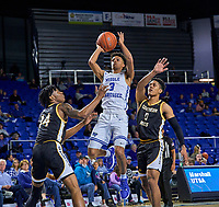 Middle Tennessee Blue Raiders guard Donovan Sims (3) shoots during the Southern Mississippi Golden Eagles at Middle Tennessee Blue Raiders college basketball game in Murfreesboro, Tennessee, Saturday, March, 7, 2020.<br /> Photo: Harrison McClary/All Tenn Sports