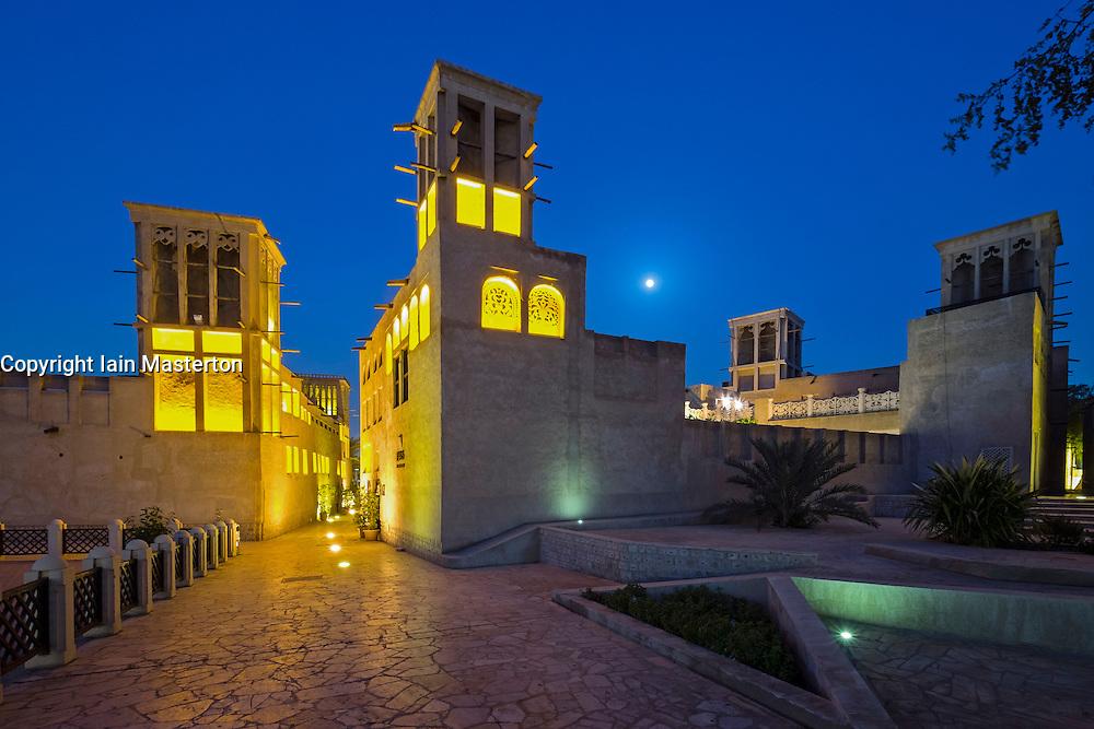 historic Bastakiya quarter at night in Dubai United Arab Emirates