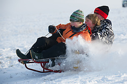 © under license to London News Pictures.  19/12/2010 Children sledging in the freshly fallen snow in Worcestershire today (19/12/2010). Snow has fallen over much of the UK in the past few days. (Parental permission granted for photography) Picture credit should read: David Hedges/LNP