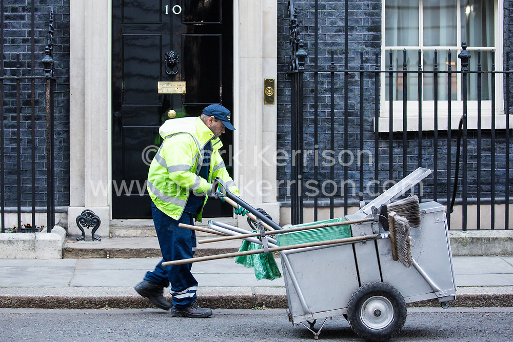 London, UK. 8th January, 2019. A street sweeper passes 10 Downing Street immediately after the first Cabinet meeting since the Christmas recess.