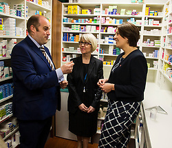 Pictured: Kezia Dugdale met head pharmasist Malcolm Clubb and Amanda Rae from Community Pharpacy Scotland<br /> <br /> The Scottish  Labour leader Kezia Dugdale visited pharmacy in Edinburgh today and took the opportunity to  discuss plans on Scotland's GP situation. <br /> <br /> Ger Harley | EEm 25 April 2016