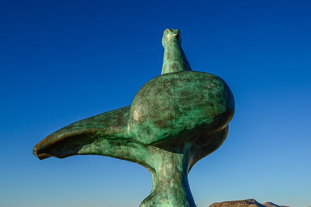 Dove sculpture along the Malecon, evening light, February, La Paz, Baja, Mexico