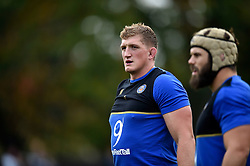 Stuart Hooper of Bath Rugby looks on during the pre-match warm-up - Mandatory byline: Patrick Khachfe/JMP - 07966 386802 - 10/10/2015 - RUGBY UNION - The Recreation Ground - Bath, England - Bath Rugby v Exeter Chiefs - West Country Challenge Cup.