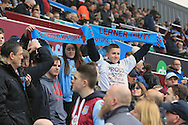 Aston Villa fans hold up 'Lerner out' scarves.<br /> Barclays Premier League match, Aston Villa v AFC Bournemouth at Villa Park in Birmingham, The Midlands on Saturday 09th April 2016.<br /> Pic by Ian Smith, Andrew Orchard Sports Photography.