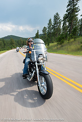 Legends Ride - riding from Deadwood to the Buffalo Chip during the 78th annual Sturgis Motorcycle Rally. Sturgis, SD. USA. Monday August 6, 2018. Photography ©2018 Michael Lichter.