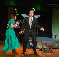 """""""May"""" Jessica McDermott and """"Horace"""" Taylor Gagne two mayflies at the pond just realize their lifespan of one day is half over during Laconia High School dress rehearsal for the one act play """"Time Flies"""" on Monday afternoon.  (Karen Bobotas/for the Laconia Daily Sun)"""