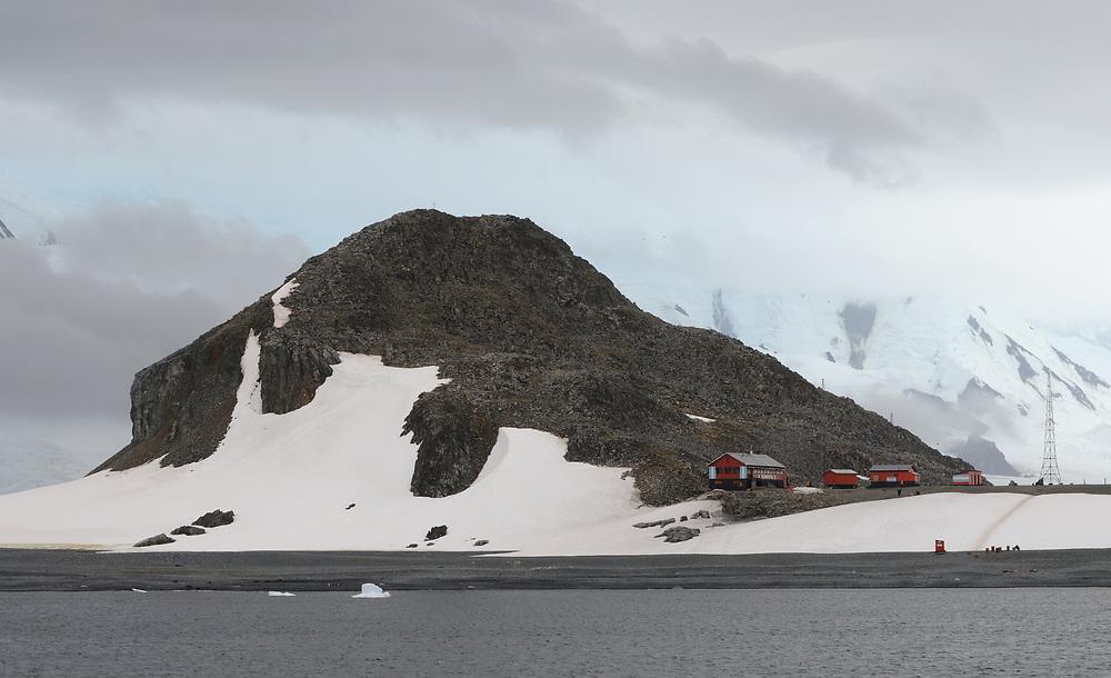 The Argentinian Camara Base on Half Moon Island.  Livingstone Island is in the background. Half Moon Island,  South Shetland Islands, Antarctica.   03Mar