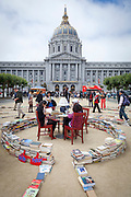 Outside the San Francisco Public Library in City Hall Plaza readings and the SFPL book labrinth.