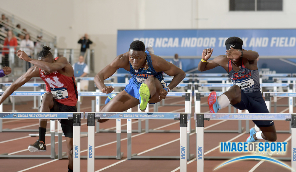 Mar 9, 2018; College Station, TX, USA; Grant Holloway of Florida wins 60m hurdles heat in 7.58 for the top time during the NCAA Indoor Track and Field Championships at the McFerrin Athletic Center.