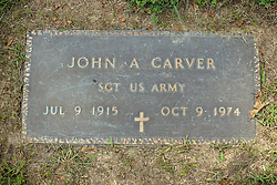 31 August 2017:   Veterans graves in Park Hill Cemetery in eastern McLean County.<br /> <br /> John A Carver  Sergeant US Army  Jul 9 1915  Oct 9 1974